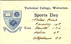 Sports Day Card from Technical College, Wolverton. Total Points