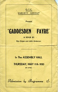 "Play Programme for ""Gaddesden Fayre"" A Revue By Ron Green and John Anderson"