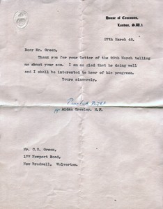Letter from the House of Commons to C E Green