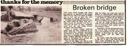 Newspaper Article from the Milton Keynes Mirror. Thanks for the memory Broken Bridge