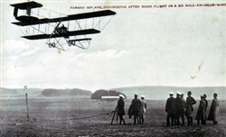 Farman Biplane Descending after good flight in a 30mph wind