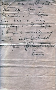 Letter from Lewis Lloyd to his aunt.