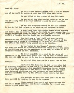 Letter from Lieutenant Colonel Anderson Meaden RAMC 141st Field Ambulance to Mr Lloyd.