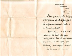Letter from E.J. Boyce Headmaster of the County School, Wolverton.
