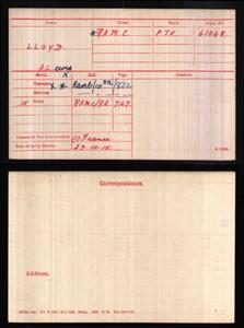 Medal roll for Private Arthur Lewis Lloyd