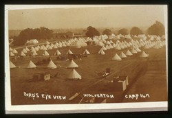 Slide of an army camp.