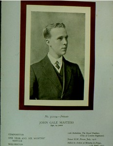 Slide of Private John Gale Masters.