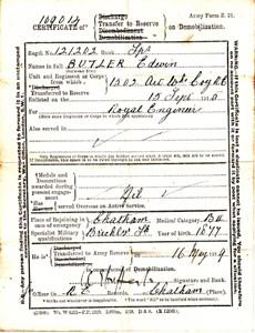 Certificate of transfer to reserve on demobilisation