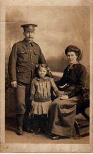 Photographic postcard of Sapper Edwin Butler and family