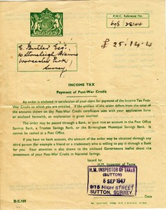 HM Income Tax Letter Payment of Post-War Credit