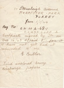 Letter from Edwin Butler,  addressee unknown.