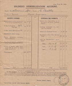 Soldier's Demobilisation Account