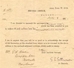 Memorandum accompanying 1914-1915 Star awarded to E H Owen