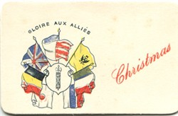Embroidered  Christmas card showing the allied flags