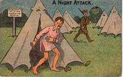 Family postcard 'A Night Attack' sent by Albert Mander