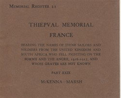 Commonwealth War Graves Commission Memorial Register 21 Thiepval part XXIX