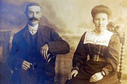 Sepia Photograph of John and Anne Mander, parents of Albert Mander