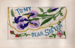 Embroidered Postcard 'To My Dear Sister'