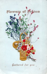 Embroidered postcard 'Flowers of France Gathered for you'