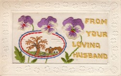 Embroidered  postcard  'From Your Loving Husband'