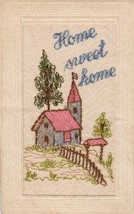 Embroidered postcard; 'Home Sweet Home'