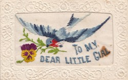 Embroidered postcard ' To My Dear Little Girl'