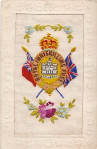 """Embroidered postcard """"Royal Inniskilling Fusiliers"""""""