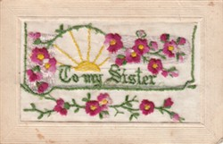 """Embroidered postcard """"To My Sister"""""""