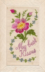 """Embroidered postcard """"My best Kisses"""""""