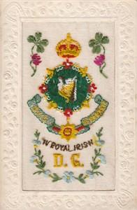 "Embroidered postcard ""IV Royal Irish DG"""