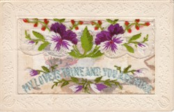 """Embroidered postcard """"My Love is Thine and You are Mine"""""""