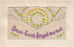 """Embroidered postcard """"Dear Heart Forget Me Not"""""""