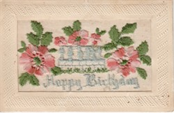 """Embroidered postcard """"Happy Birthday"""""""