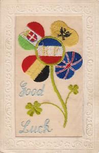 "Embroidered postcard ""Good Luck"""