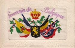 """Embroidered postcard """"Souvenir de Belgique"""""""