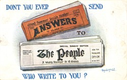 """Cartoon Postcard """"Don't You Ever Send Answers To The People Who Write To You?"""""""
