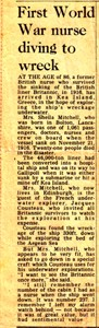 Newspaper article on a First World War nurse diving to HMS Britannic