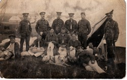 Photographic postcard of RAMC group photo at Salisbury Camp 1914