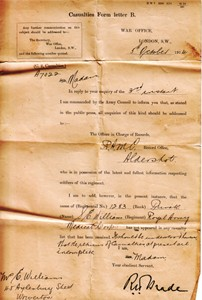 Letter to Mrs E Williams  from War Office Casualties Form letter B - enquiry regarding casualty lists