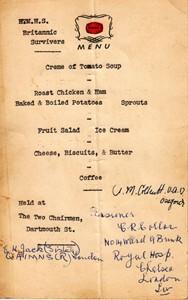 HMHS Britannic Survivers Dinner Menu