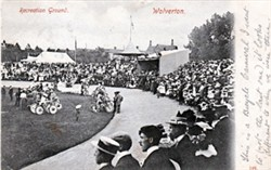 Postcard of a bicycle carnival, Wolverton Recreation Ground