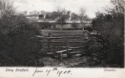 Postcard of Calverton Church and Farm, Stony Stratford