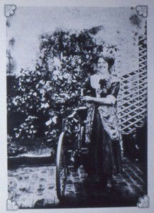 Slide of Nellie Smith with bicycle at the Hanslope Cycle Carnival