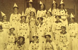 Slide of Pageant group in clown costume