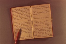 Slide of Nellie Smith Open Diary with Pencil