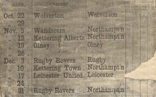 Fixtures List Northampton Rovers Football Club, season 1881-82