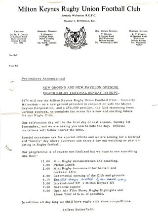 Letter about the Grand Rugby Festival for the opening of the new ground and pavilion