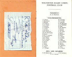Wolverton Rugby Union Football Club Membership Card. 1971-72 Season
