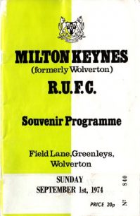 Souvenir Programme for a Milton Keynes (formerly Wolverton) R.U.F.C. match