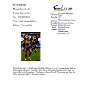 Olney Rugby Club Colts TOO-ER Lille Information pack
